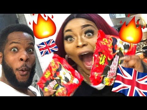 BRITISH COUPLE TRY SPICY NOODLE CHALLENGE *warning bad language*