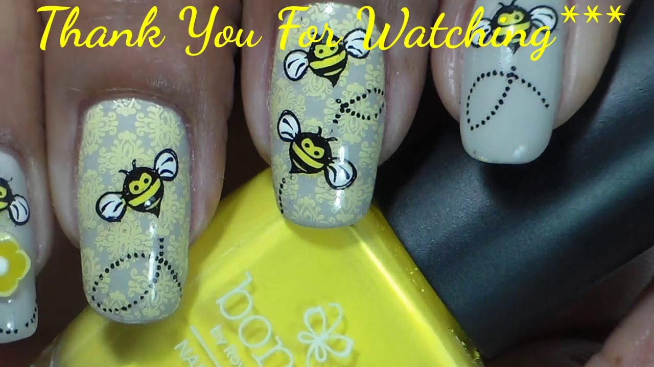 Cute Bumble Bees Nail Stamping Design Youtube