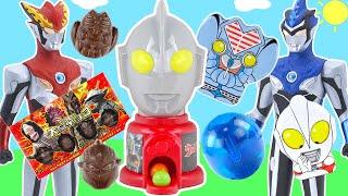 奧特曼糖果機變出奧特曼食玩奇趣蛋 羅布奧特曼對戰火炎骨獸 超人力霸王ultraman r/b