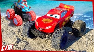 Disney Pixar CARS TOON Monster Truck McQueen &Tormentor Tow Mater stunts on the beach Seaside Action thumbnail
