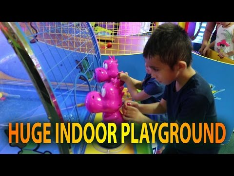 HUGE Indoor playground GIANT INFLATABLE SLIDES and Bounce House for kids
