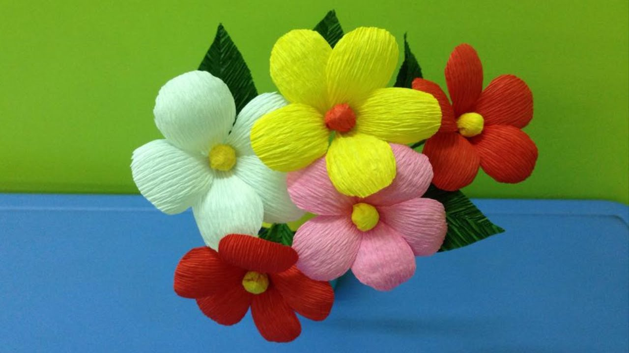 How to make crepe paper flowers flower making of crepe paper youtube premium mightylinksfo