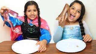 السا ضد انا ! تحدي الحقيقي ضد الشوكلاتة !!! Elsa vs Anna real vs chocolate Battle