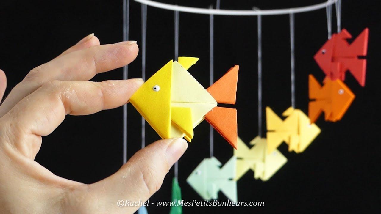 Bricolage facile poisson en tangrami avec gabarit d couper youtube - Poisson a decouper ...