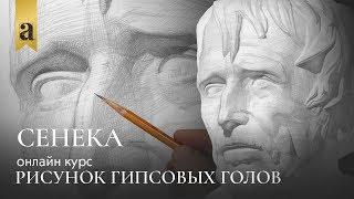 Голова Сенеки - Рисунок гипсовых голов   Художник Денис Чернов ~ Онлайн-школа Akademika