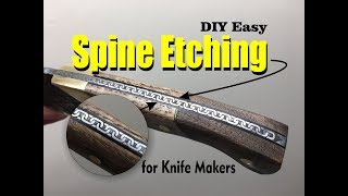 Knife Spine Metal Etching with salt water and a 12 volt battery charger