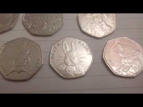 Beatrix Potter 50p Coin Collection. Peter Rabbit, Mr Jeremy Fisher, Benjamin Bunny
