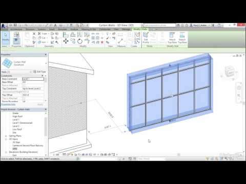 32) Adding curtain walls (REVIT 2017)