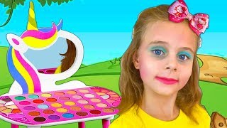 Masha plays with make up toys and wants to be beautiful