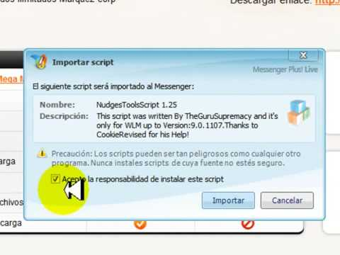 script zumbidos ilimitados para messenger plus