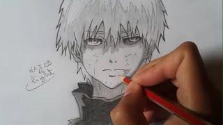 Drawing Kaneki Ken from Tokyo Ghoul (pencil) 東京喰種トーキョーグールの金木研を書いてみた