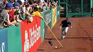 PLAYERS vs. FANS with crazy ball-retrieving devices at PNC Park