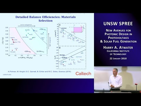 UNSW SPREE 201801-22 Harry Atwater - New avenues in photovoltaics and solar fuel generation
