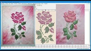 """Мой проект по созданию заготовки для печати по ткани для вышивки бисером. Роза """"Нежность""""."""