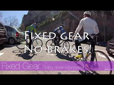 Going down Montserrat with fixed gear track bikes: brakeless! - Cycling in Barcelona Spain