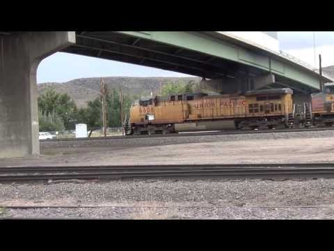 Union Pacific RR #6608 mixed freight with SP patch jobs crawls to a stop @ Rawlins, WY 9/14/13 033