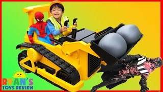 BullDozer CAT Power Wheels Ride On Car Kids Construction Vehicle Darth Vader got Spiderman Egg
