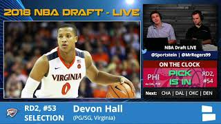 Oklahoma City Thunder Select Devon Hall From Virginia With Pick #53 In 2nd Round Of 2018 NBA Draft
