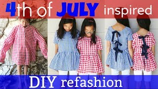 DIY   4th of JULY INSPIRED SHIRT TO DRESS REFASHION: How to transform old clothes