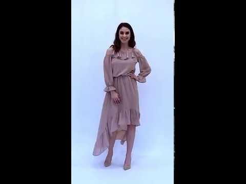 Video: Szyfonowa sukienka z asymetrycznym dołem i falbankami