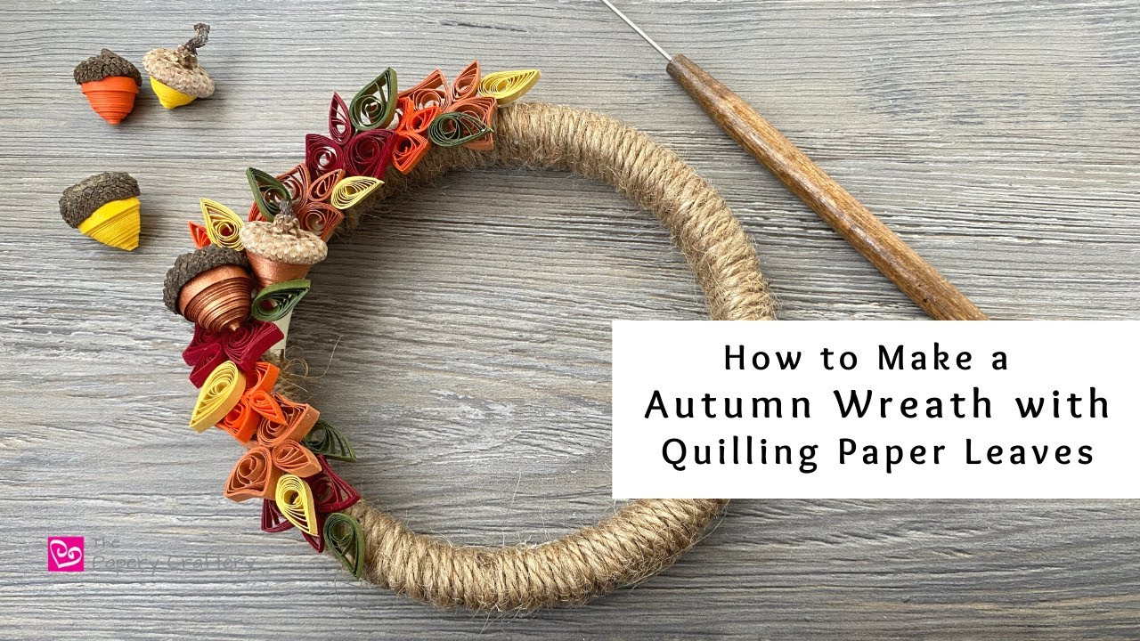 Download How to Make an Autumn Wreath with Quilling Paper Leaves | Fall Paper Crafts | Quilling for Beginners