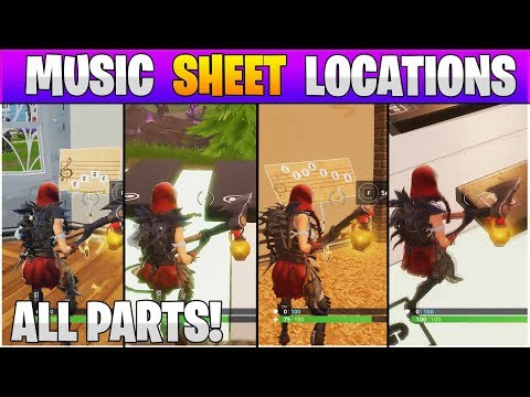 Fortnite ALL Music Sheet Locations! Find A Stand With Sheet Music In Pleasant Park Challenge!