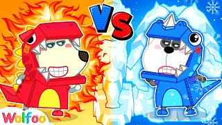 Hot vs Cold Challenge  Wolfoo Pretend Play in the Dinosaur World | Wolfoo Channel Kids Cartoon