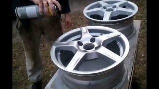 Покраска литых дисков баллончиком(В этом видео показано как можно за несколько долларов обновить цвет своих дисков! как и чем лучше красить..., 2015-04-01T22:50:31.000Z)