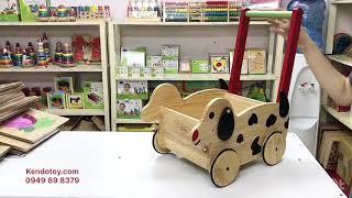 Đồ chơi gỗ xe chở đồ chó con | xe bé tập đi chở đồ dễ thương