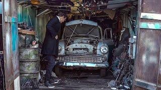 Нашли в гараже Москвич. Ему 57 лет, завели и поехали.