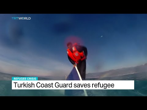 Turkish Coast Guard rescues stranded refugee from capsized boat