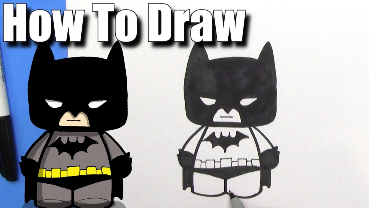How To Draw A Cute Cartoon Batman Easy Chibi Step By Step