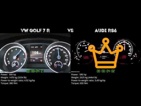VW Golf 7 R vs Audi RS6 // 0-100 km/h