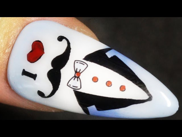 I Love Mustache Tuxedo Man Nail Design Stamping Nail Art With Water Paint And Sheer Pigment