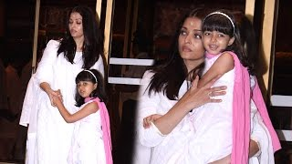 Aishwarya Rai With CUTE Daughter Aaradhya Bachchan At Her Father's Prarthna Sabha
