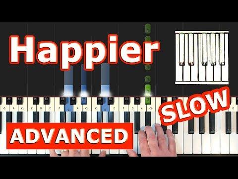 Marshmello ft. Bastille - Happier - SLOW Piano Tutorial Easy - Sheet Music (Synthesia) thumbnail