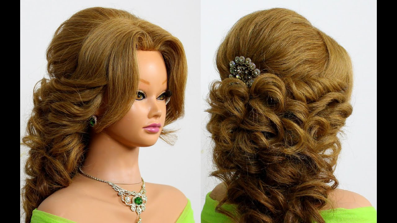Prom bridal hairstyle for long hair. Tutorial - YouTube