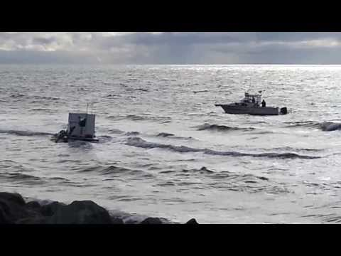 Nome Dredge Stuck in Waves 9 23 2013