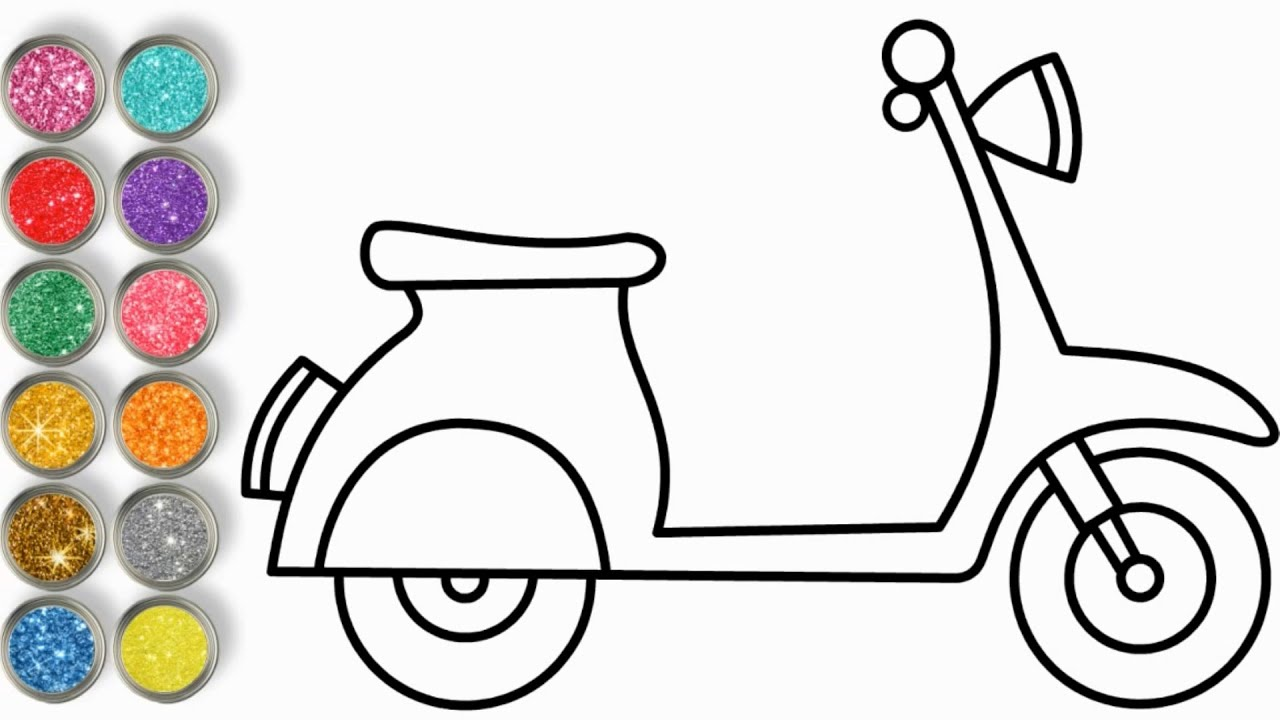 How to Draw a Vespa Scooter Easy Step by Step 💚💙❤️ Glitter Coloring 💚💙❤️ Easy Drawing 💚💙❤️