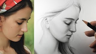 Download lagu Drawing a Female Face from Photo Reference Quick Sketchbook Practice MP3