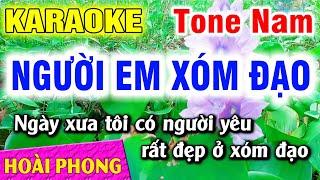 Người Em Xóm Đạo Karaoke Beat Nam Nhạc Sống Mới 2020 | Hoài Phong Organ