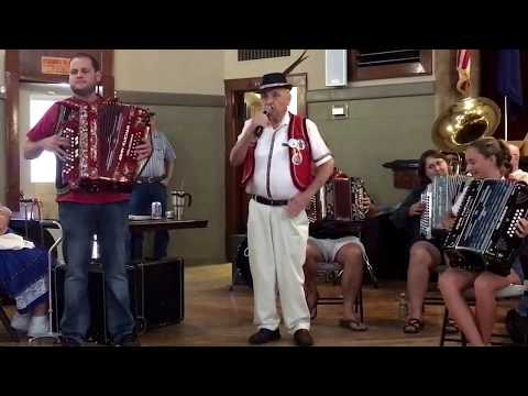 """Accordion Jam at Wilber Czech Days with Alfred Novacek singing """"Owl Polka""""."""