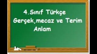 4  Sınıf Türkçe Gerçek,mecaz ve terim anlamlı sözcükler