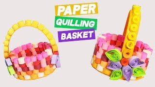 3 Minute Crafts / DIY Paper Quilling Basket with Quilled Flowers decor / Quilling Art & Crafts ideas