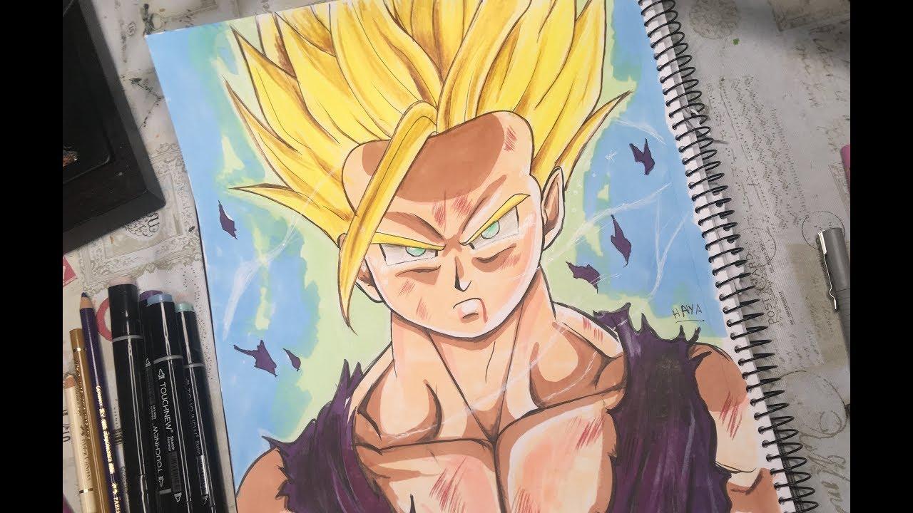 رسم جوهان Super Saiyan أنمي Dragon Ball خوة بخطوة بالتخطيط