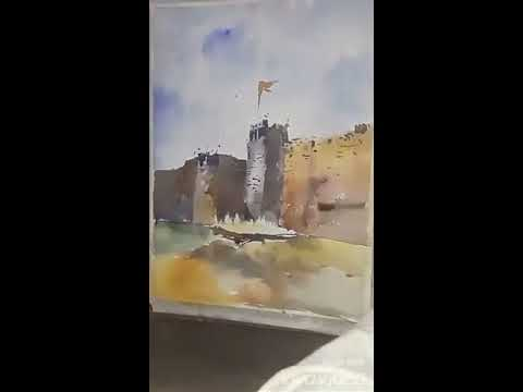 Easy Water color painting of fort landscape Tutorial by Tushar Raut