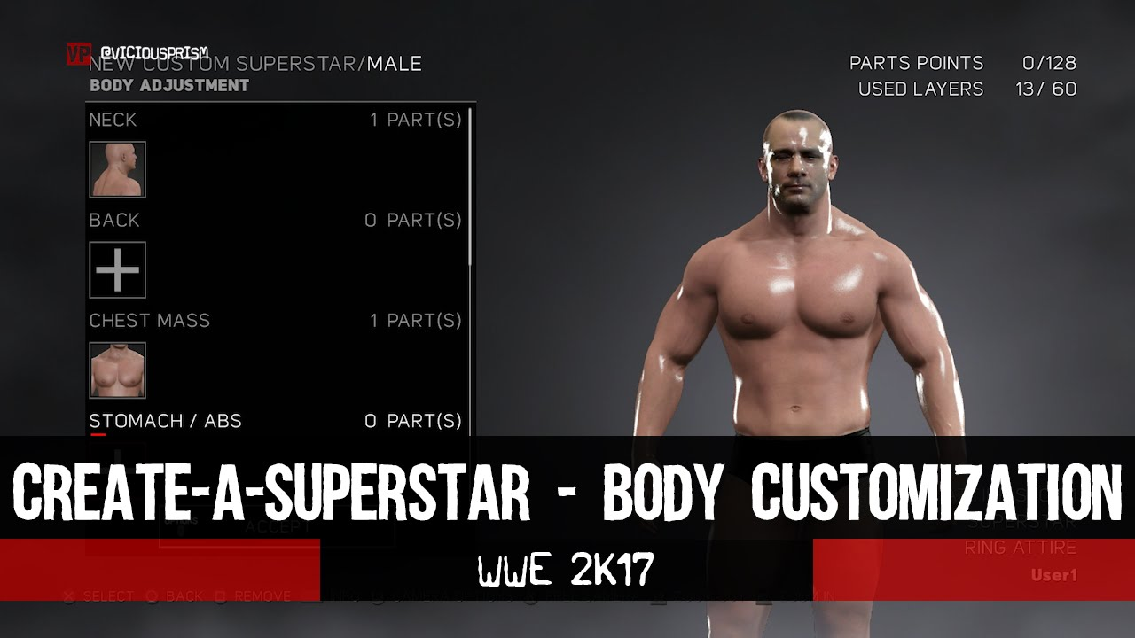 Wwe 2k17 Caw Mode Body Customization Viciousprismcom