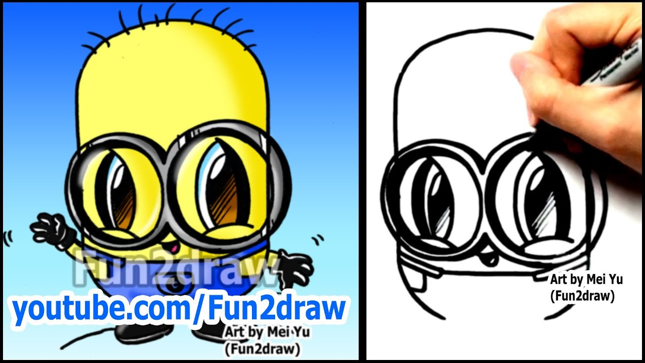 Show me how to draw a minion - How To Draw A Minion From Despicable Me Fun2draw Style Easy Characters Youtube