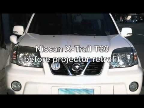 nissan x trail t30 projector youtube. Black Bedroom Furniture Sets. Home Design Ideas