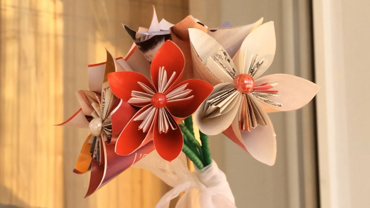 Paper Flower Bouquet Diy Origami Flower Tutorial Youtube